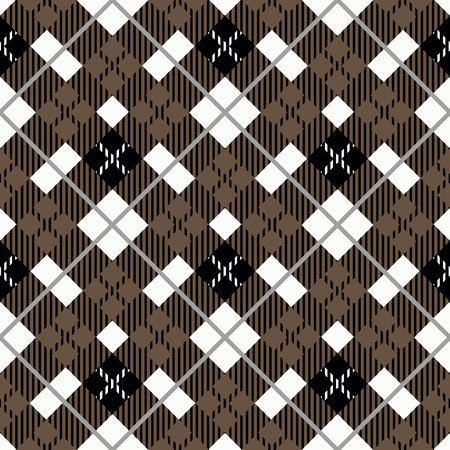 Seamless tartan plaid pattern. Traditional checkered fabric texture in palette of brown, black and white. eps 10