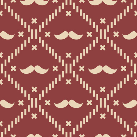 American Hipster Mustache Tartan Plaid and Argyle Vector Patterns in Patriotic Red, White and Blue. 4th of July or Father s Day Backgrounds. Barbershop Style. Pattern Tile Swatches Included.