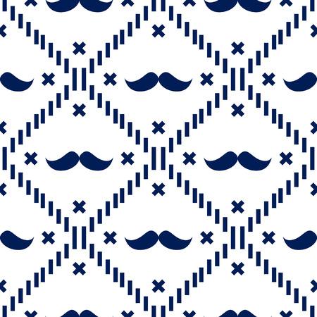 American Hipster Moustache Tartan Plaid y Argyle Vector Patterns en Patriotic White and Blue. 4 de julio o fondos del día del padre. Estilo de barbería. Muestras de azulejos de patrón incluidos.