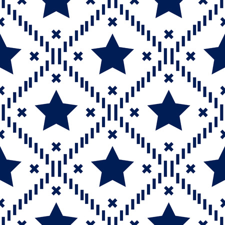 Happy 4th of July, USA Independence Day background. Vector seamless flag pattern, blue star stripes. Abstract design concept for greeting card, banner, flyer, poster. eps10 Illustration