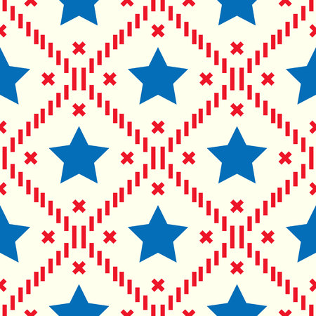 Happy 4th of July, USA Independence Day background. Vector seamless flag pattern, watercolor blue star and red stripes. Abstract design concept for greeting card, banner, flyer, poster. eps 10 Illustration