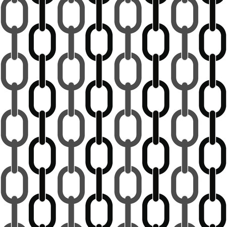 black and metal chain on white seamless vector background. eps10