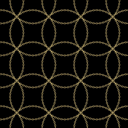 Art Deco Style Textured Golden Chain Seamless Pattern. Gold Necklace Repeating Vector Background. Cloth design. Can be used for wallpaper, pattern fills, web page background, surface textures. eps 10