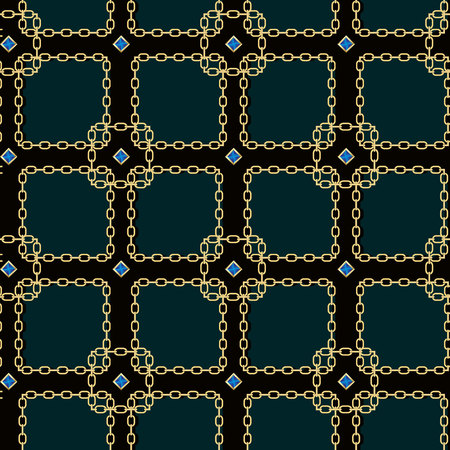 Gold chain square on black seamless vector background. eps 10