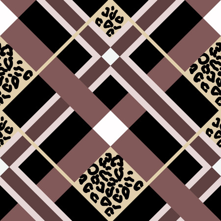 Brown and Beige Tartan Plaid Scottish Pattern with leopard skin Illustration