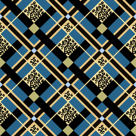 Scottish tartan grunge seamless pattern with leopard spots on blue. eps10
