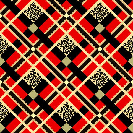 Scottish red tartan grunge seamless pattern with leopard spots eps 10