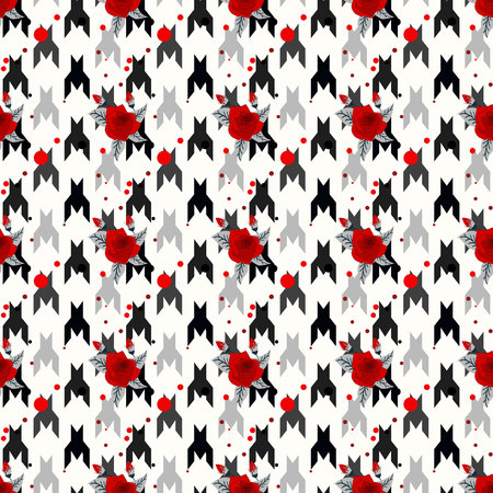 Hounds-tooth seamless vector patternwit red flower. Geometric print in black and white color . Classical English background Glen plaid Glenurquhart check for fashion design. eps10