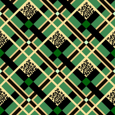 Scottish tartan grunge seamless pattern with leopard spots on green. eps10
