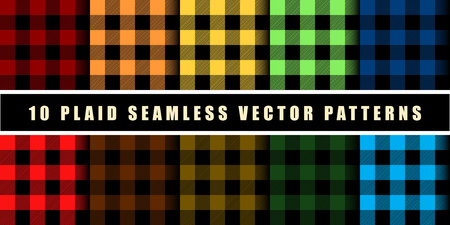 Set 10 Check Plaid Seamless Pattern in Blue, Crimson, Red, Green and Orange Colors. Template for Clothing Fabrics. Trendy Colors Palettes of 2019 Season. Vector Illustration. eps10 矢量图像