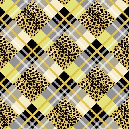 Scottish tartan grunge seamless pattern with leopard spots eps10 Illustration