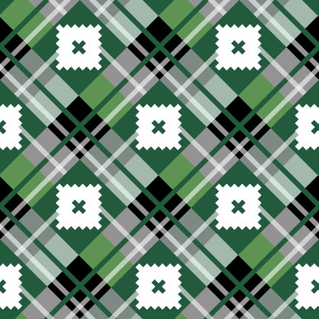 Green diagonal fabric texture tartan seamless pattern. Vector illustration.