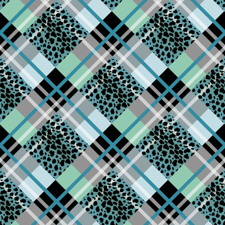 BLUE Scottish tartan grunge seamless pattern with leopard spots eps 10