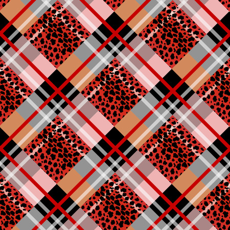 Red Scottish tartan grunge seamless pattern with leopard spots eps 10