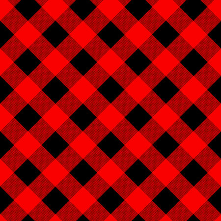 Buffalo plaid seamless pattern with diagonal lines. Alternating red and black squares lumberjack background. Vector illustration. Illustration