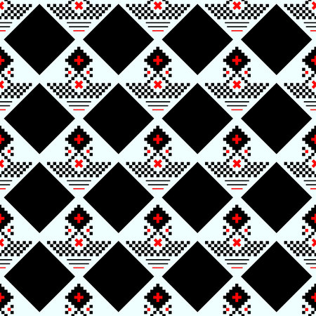 Vector geometric traditional Scandinavian ornament. Simple ornamental seamless pattern. Folk ethnic motif. Abstract minimal texture with squares, crosses, lines. Fair isle background. Red and black eps10 Vettoriali