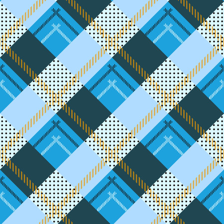 vector seamless pattern Caledonia Scottish tartan, black, white, blue yellow, green red