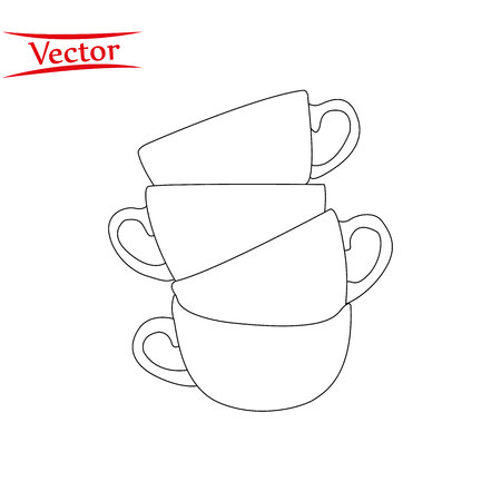 Line of tea and coffee cups. Vector illustration. eps10
