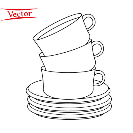 vector illustration of a stack of line coffee cups on a white background Ilustração