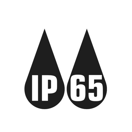 IP65 protection certificate standard icon. Water and dust or solids resistant protected symbol. Vector illustration. Vettoriali