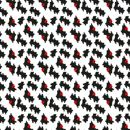 Seamless black, red and white pattern with protruding teeth. Vector houndstooth.