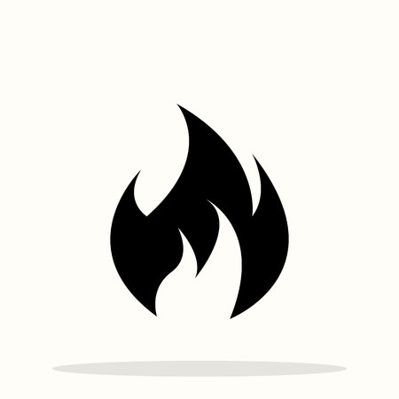 Fire flame icon. Black icon isolated on white background. Fire flame silhouette. Simple icon. Web site page and mobile app design vector element. eps10