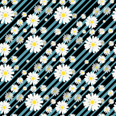 Flower seamless pattern. Field herbs daisy textile print decoration on vintage dark blue background. Fashion traditional illustration vintage. Chamomile plant floral ditsy ornament art.
