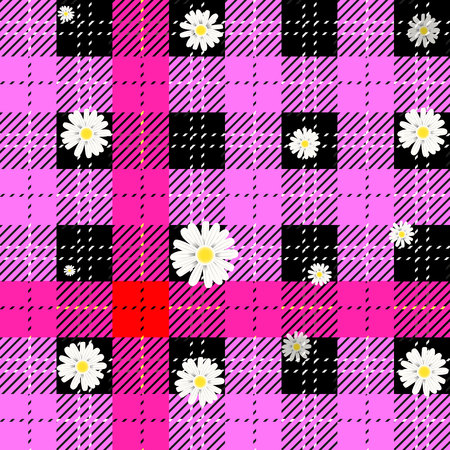 Seamless tartan plaid pattern in pink and grey. Traditional checkered fabric texture for digital textile printing.