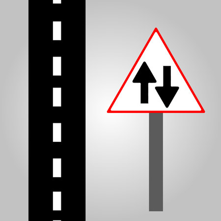 Traffic sign - sign straight and road simulate  イラスト・ベクター素材