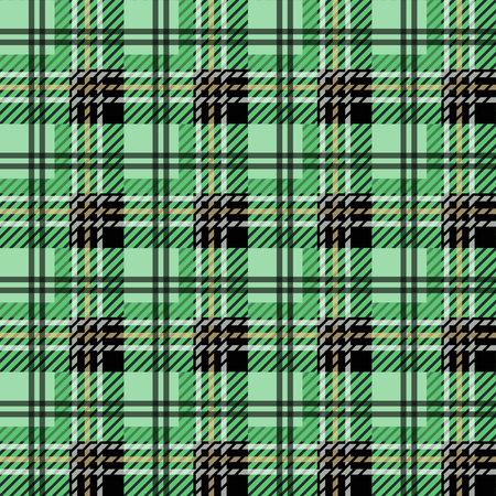 green tartan fabric texture in a square pattern seamless vector illustration Ilustración de vector