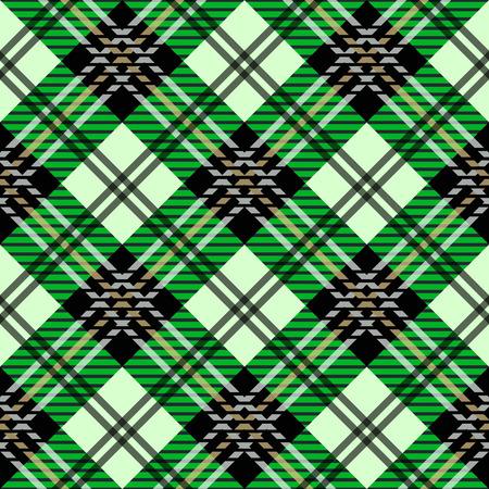 green tartan fabric texture diagonal little pattern seamless vector illustration