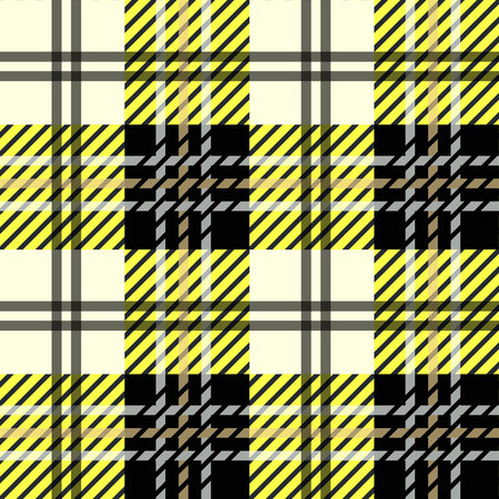 Black And Yellow Lumberjack Tartan Plaid Cloth Texture Pattern Illustration