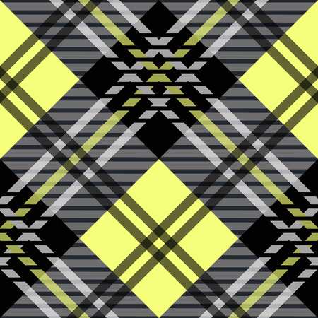 Seamless tartan plaid pattern. Checkered fabric texture print in shades of yellow, and white