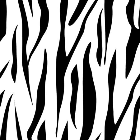 Zebra Stripes Seamless Pattern. Zebra print, animal skin, tiger stripes, abstract pattern, line background, fabric. Amazing hand drawn vector illustration. Poster, banner. Black and white artwork, eps