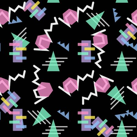 Hipster Pattern Abstract Retro 80 s Jumble Geometric Line Shapes. fashion style seamless on black background. Vector illustration for textile fabric design, paper and website design eps10
