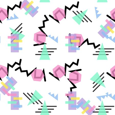Hipster Pattern Abstract Retro 80 s Jumble Geometric Line Shapes. fashion style seamless background. Vector illustration for textile fabric design, paper and website design