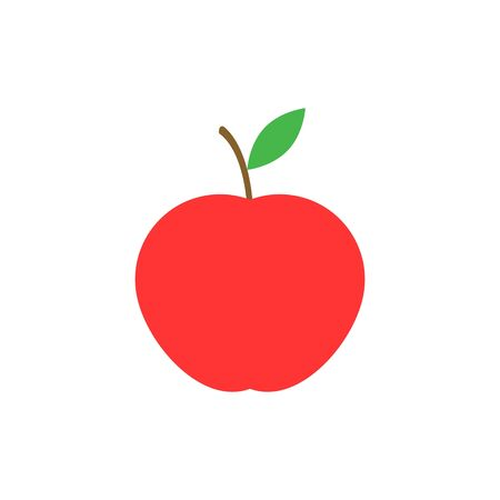 Red apple with leaf isolated on white background. Vector illustration.
