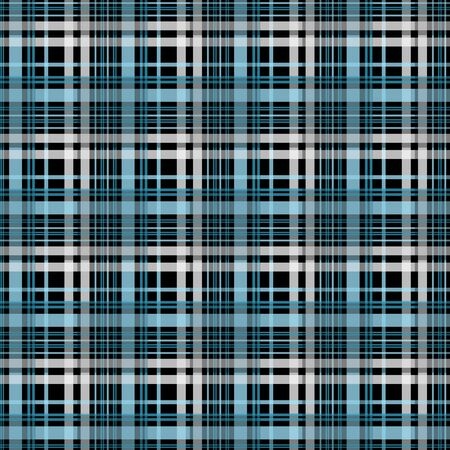Checkered gingham fabric seamless pattern in black, white and blue, vector. EPS 10 Ilustracja
