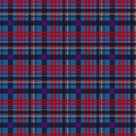Seamless diagonal textile red and blue tartan plaid pattern vector