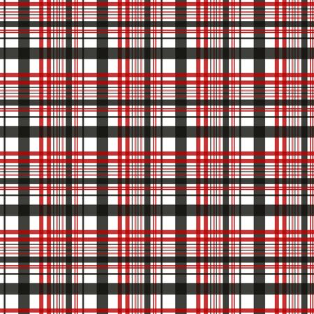 Textured red and black tartan plaid. Seamless vector pattern 向量圖像