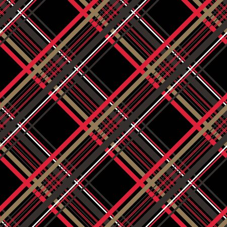 Checkered gingham fabric seamless pattern in black, white and red, vector.