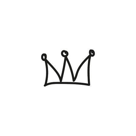 Hand drawn crown icon isolated on white background for queen logo, princess diadem symbol, doodle illustration, pop art element, beauty and fashion shopping concept. vector Ilustracja