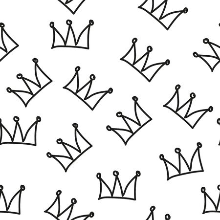 Seamless pattern with crowns isolated on white background. Rough brush painted shapes. Ink street-style abstract grunge illustration. Ilustracja