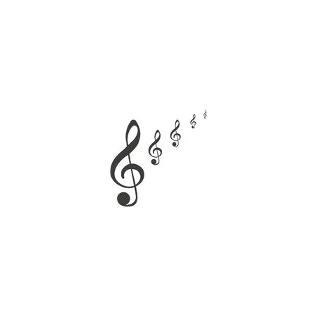 Set of musical design elements, treble clef in swirl with music notes, vector illustration. Ilustracja