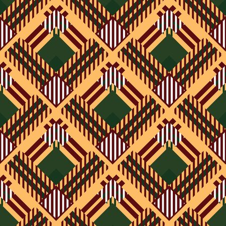 Caledonia Tartan pattern. Scottish cage. Scottish checkered background. Traditional scottish ornament. Scottish plaid in classic colors. Seamless fabric texture. Vector illustration
