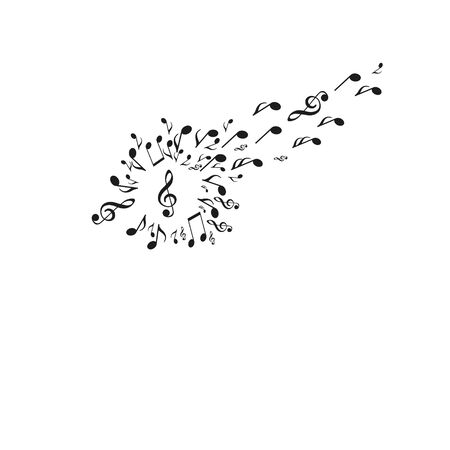Dandelion silhouette made from musical notes, with some notes flying away towards on whrite backround