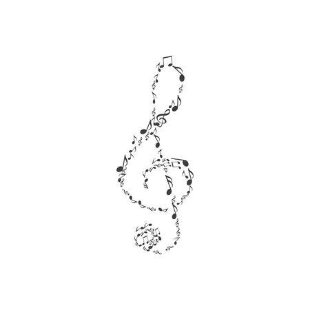 Wektor klucz wiolinowy ikona nuty Ilustracje wektorowe