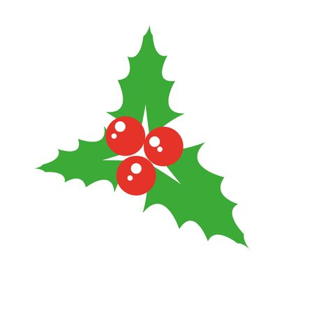 Holly berry icon. Christmas symbol vector illustration Ilustracja