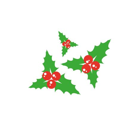 Holly berry leaves Christmas icon. Vector illustration Ilustracja