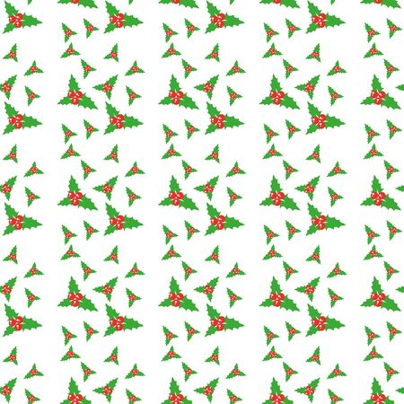 Christmas holly branches with cinnamon and cloves on a white background. Seamless pattern. Ilustracja
